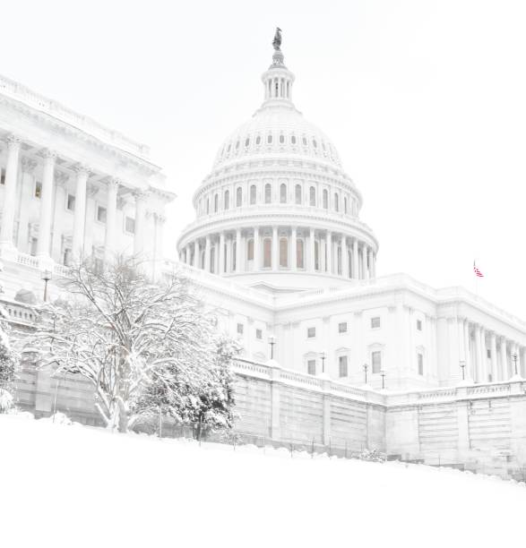 The U.S. Capitol Building with Snow in Washington, D.C. stock photo