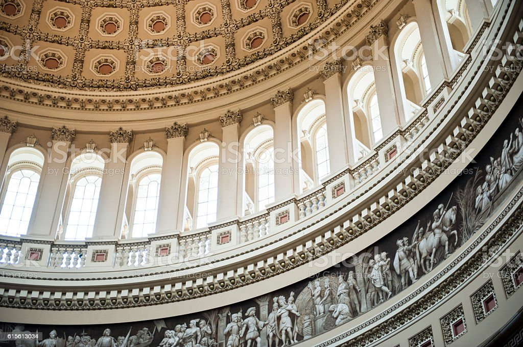 The US Capitol Dome, Interior, Washington DC stock photo