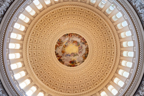 The US Capitol Dome, Interior, Washington DC, USA stock photo