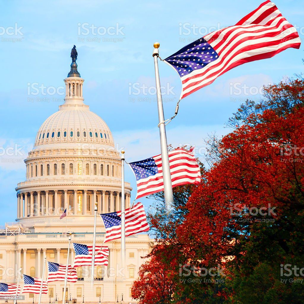 The US Capitol in Washington D.C., USA, at sunset stock photo