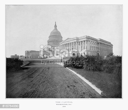 Antique American Photograph: The U.S. Capitol, Washington, D.C., United States, 1893: Original edition from my own archives. Copyright has expired on this artwork. Digitally restored.