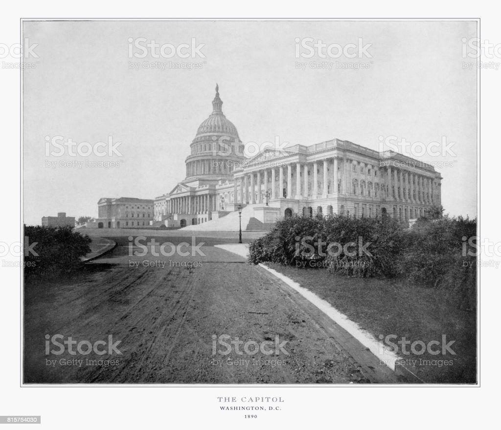 The U.S. Capitol, Washington, D.C., United States, Antique American Photograph, 1893 stock photo