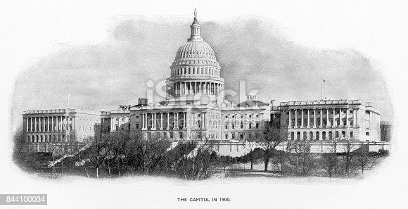 Antique American Photograph: The U.S. Capitol, Washington, D.C., United States, 1900: Original edition from my own archives. Copyright has expired on this artwork. Digitally restored. Historic photos shows the U.S. Capitol in 1900 and was featured as part of the Washington D.C. Centennial Celebration.
