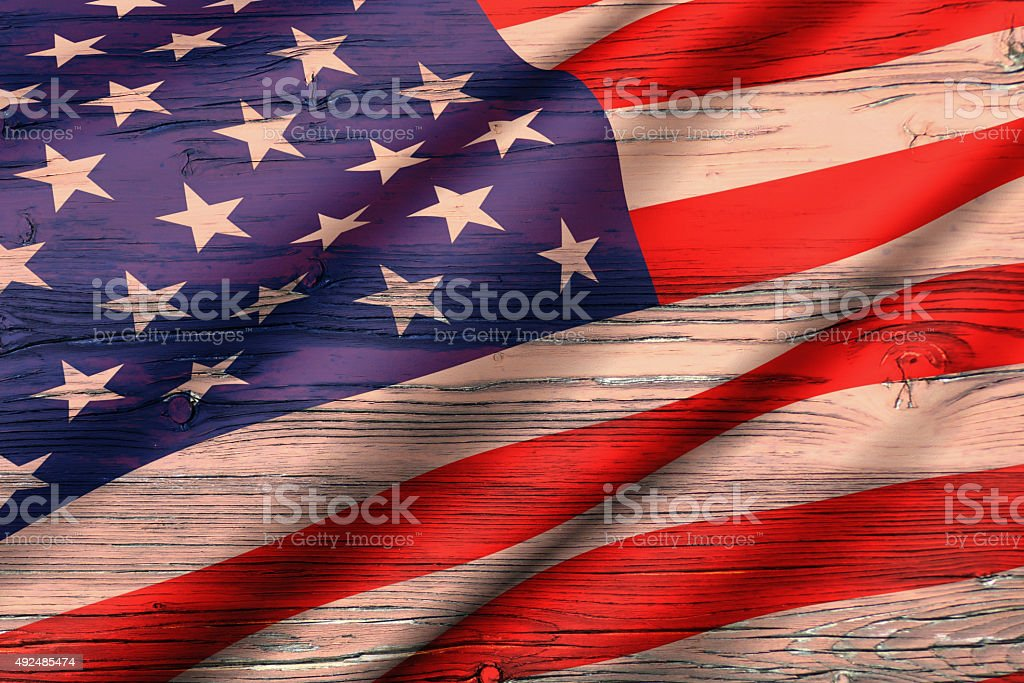 The USA flag painted on wood stock photo