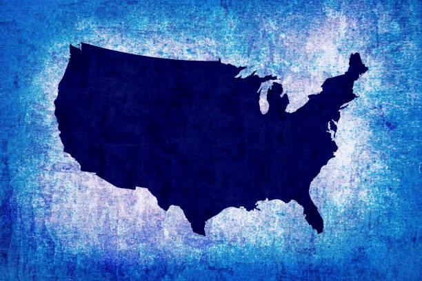 The USA map on old blue paper stock photo
