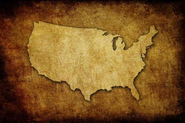 The USA map on old paper stock photo