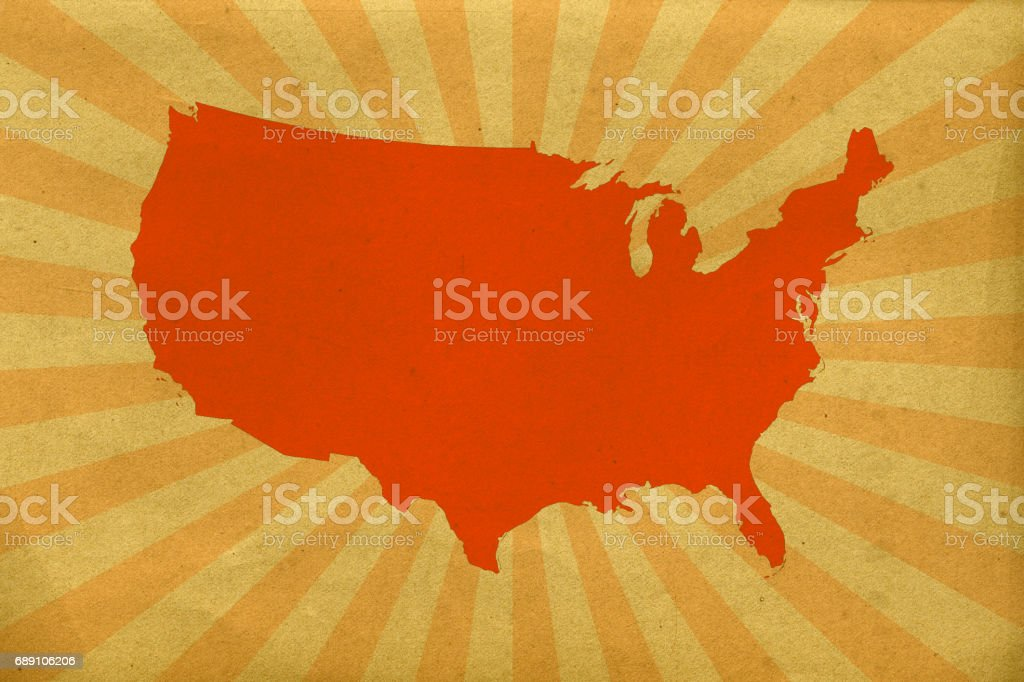 The USA map on paper with sunburst stock photo