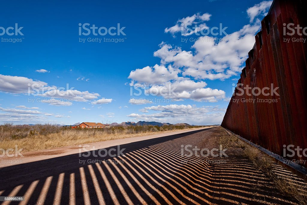 Shadows Cast Across the USA - Mexico Border stock photo
