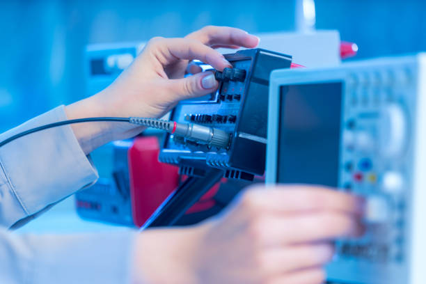 The use of measurement in the electronics laboratory stock photo