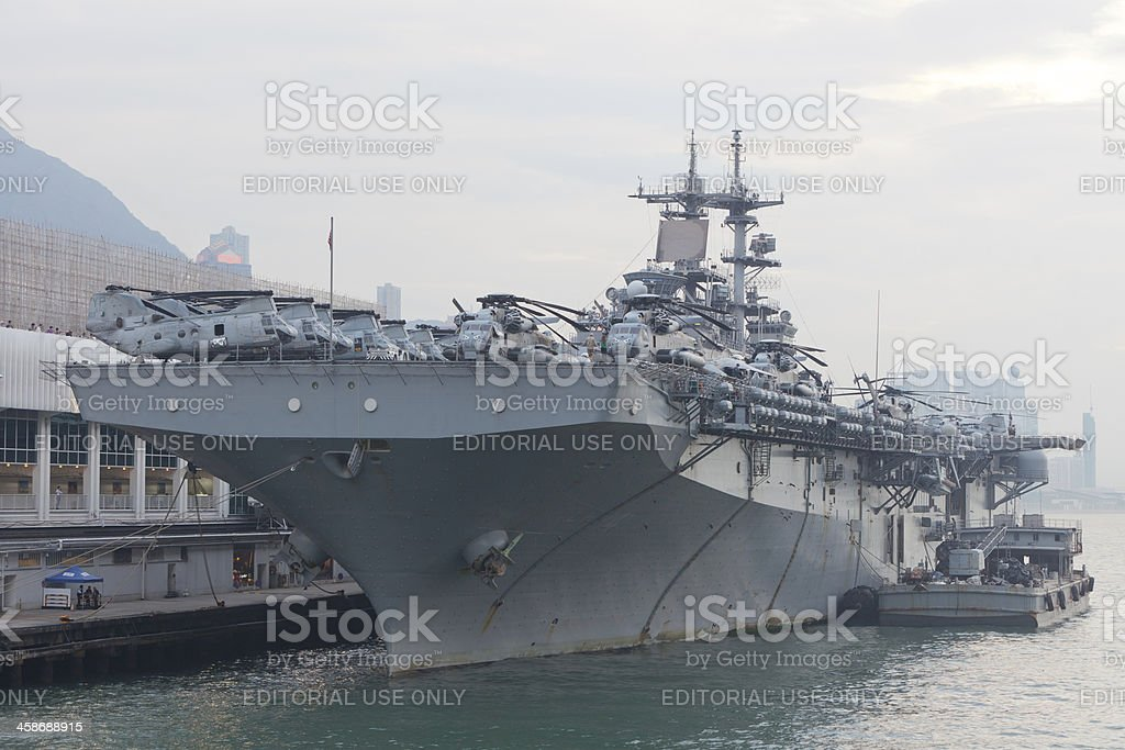 The USS Boxer in Hong Kong royalty-free stock photo