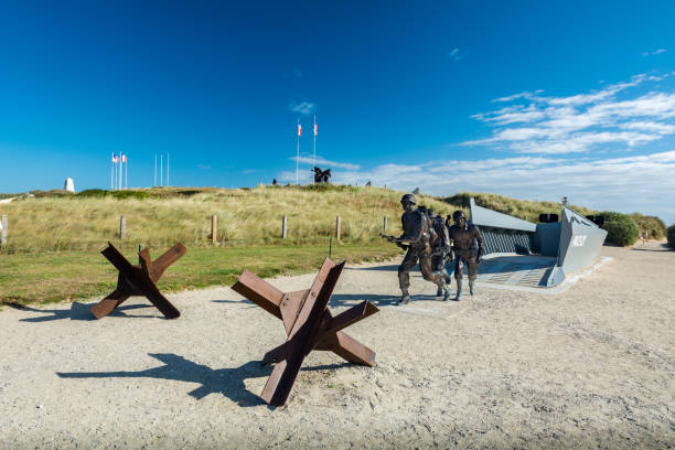 The Utah Beach D-Day Museum Utah Beach, France - September 9, 2016: Utah Beach was the code name for one of the five sectors of the Allied invasion of German-occupied France in the Normandy landings on June 6, 1944 (D-Day), during World War II. normandy stock pictures, royalty-free photos & images