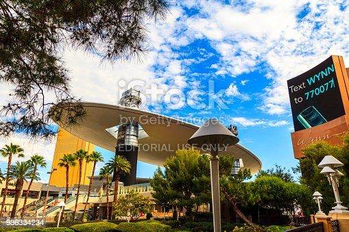 Las Vegas USA - July 7 2015: Las Vegas Wynn hotel and Casino, named after casino developer Steve Wynn and is the flagship property of Wynn Resorts Limited. 40 million people visiting the city each year.