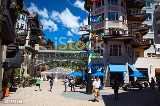 Vail,Colorado, USA - July 16,2013:  The Vail is a Home Rule Municipality in Eagle County, Colorado.Vail is a small town at the base of Vail Mountain, home of the massive Vail Ski Resort.
