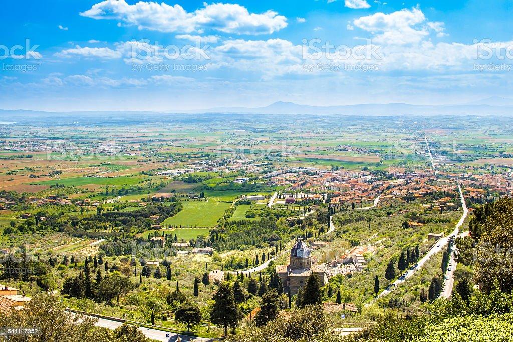 The Val di Chiana, an alluvial valley in Tuscany, Italy stock photo