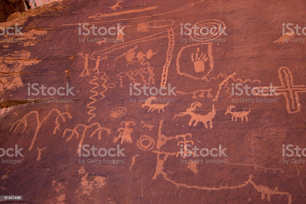 The Valley of Fire Petroglyphs on Atlatl Rock royalty-free stock photo