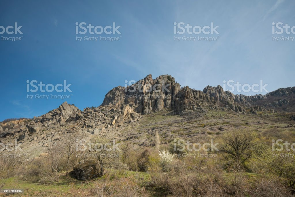 The Valley of Ghosts in Crimea. stock photo