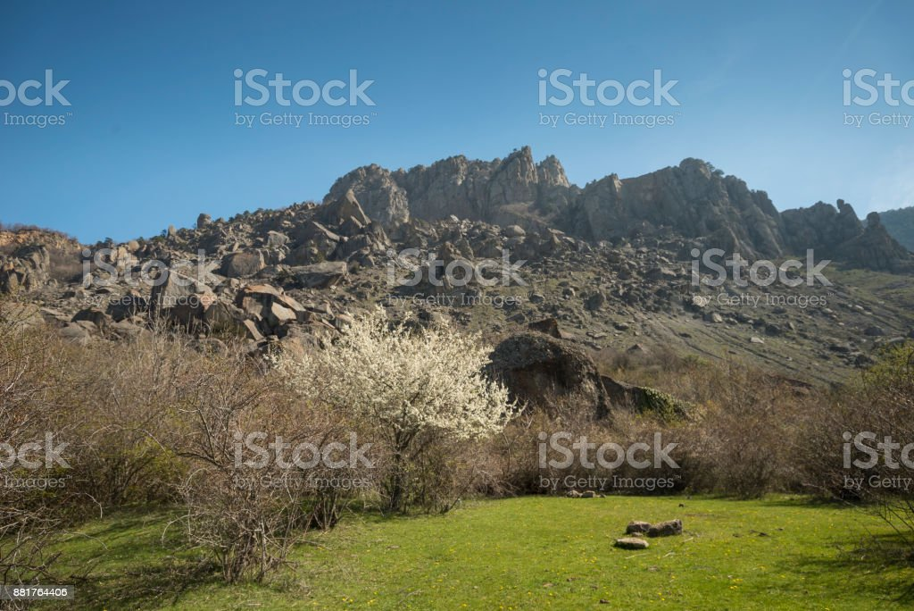 The Valley of Ghosts in the Crimea. stock photo