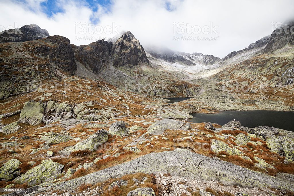 the valley of the Five Spis Lakes in Tatra mountains, Slovakia stock photo
