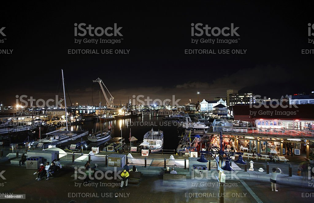 The V&A Waterfront in Cape Town  at night stock photo
