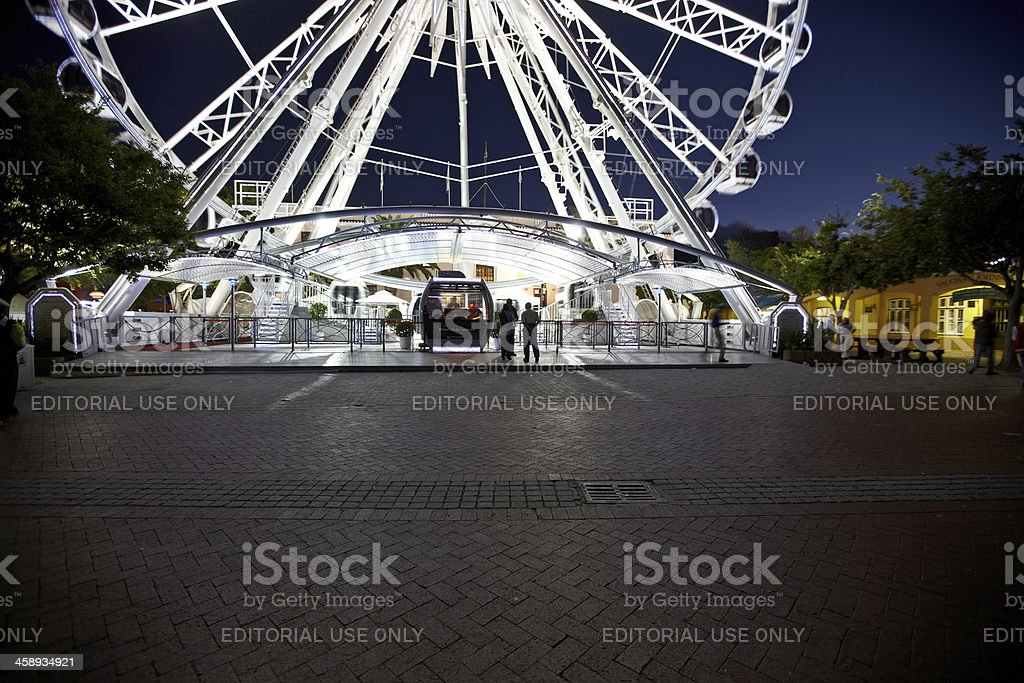 The V&A Waterfront in Cape Town observation wheel at night stock photo