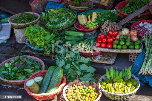 istock The variety of vegetables in the Vietnamese market. 1176596965