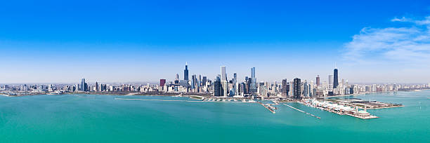 The vast Chicago skyline depicted in a panorama stock photo