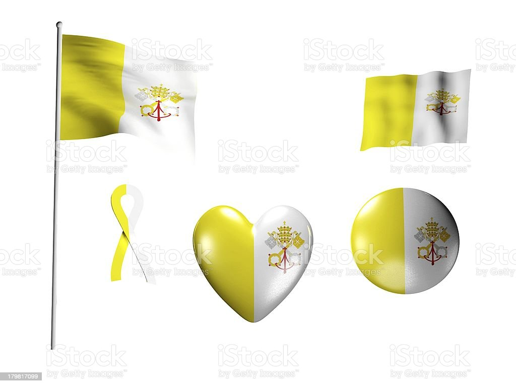 The Vatican flag - set of icons and flags royalty-free stock photo