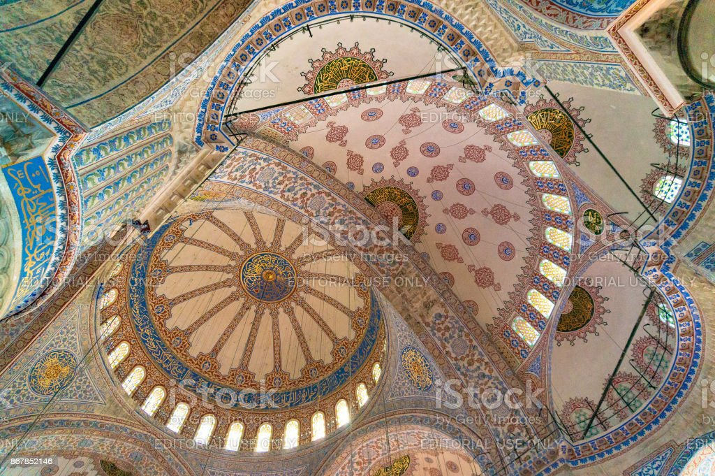 The vaulting of the nave of Sultan Ahmed Mosque, Blue Mosque stock photo
