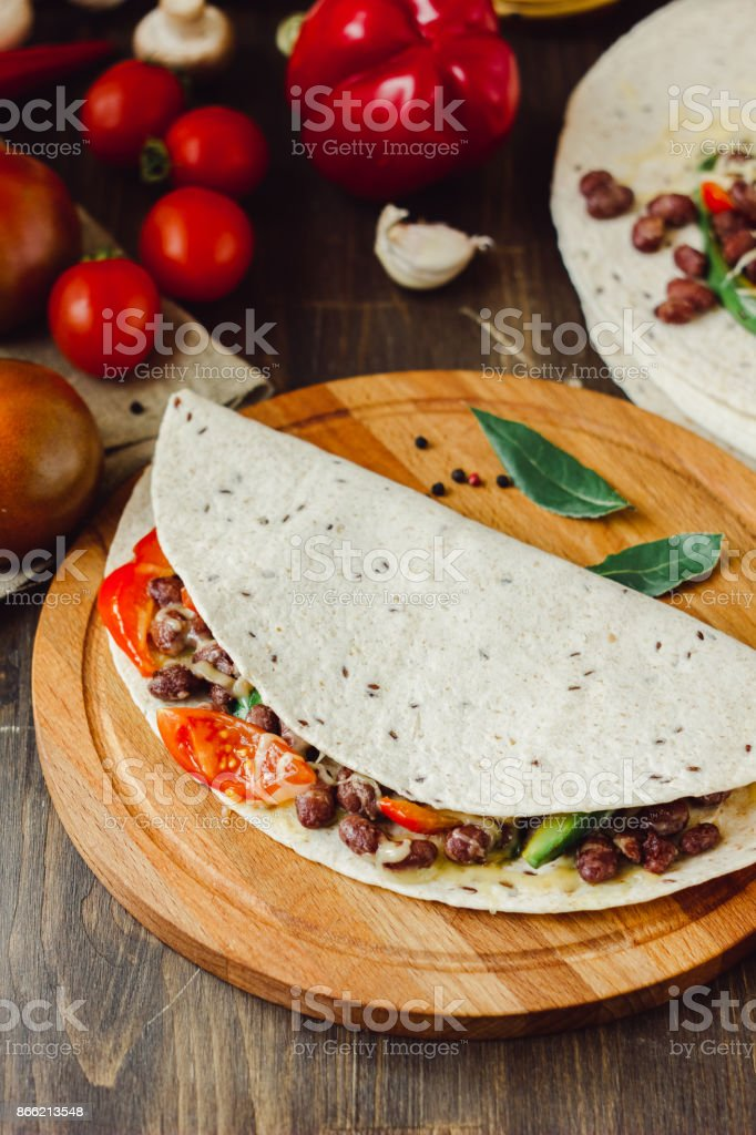 The vegetarian quesadilla - traditional mexican food. stock photo
