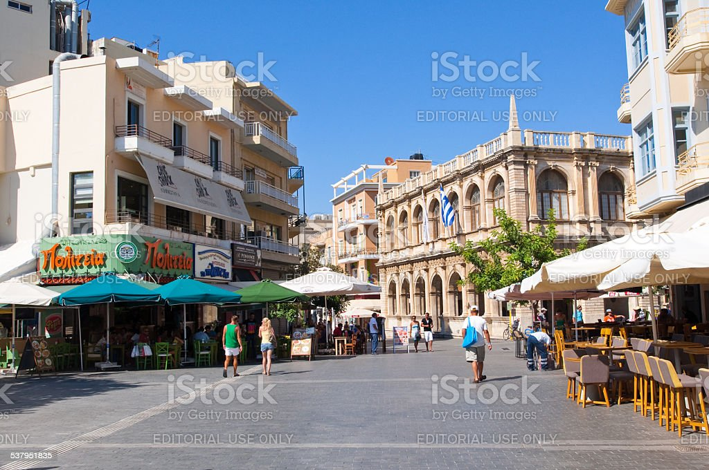 The Venetian loggia as seen from Lions Square. Crete, Greece. stock photo