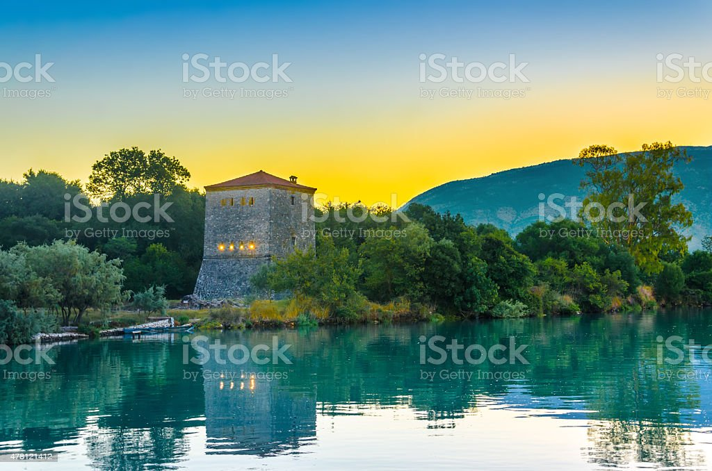 The Venetian Tower of Butrint, Archaeological Site Albania stock photo