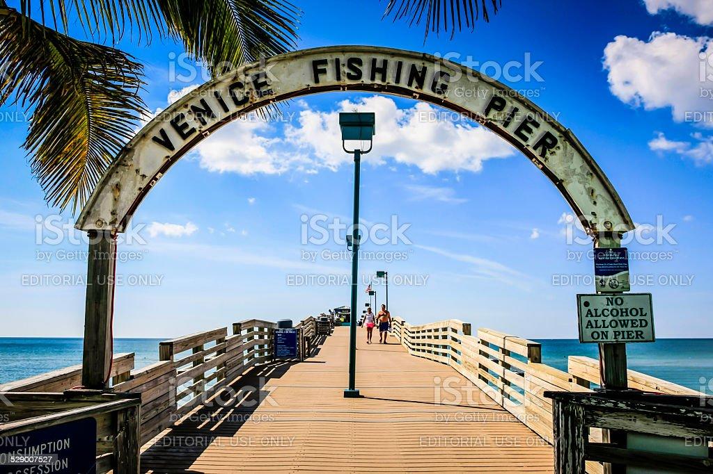 The Venice Fishing Pier on the Gulf coast of Florida stock photo