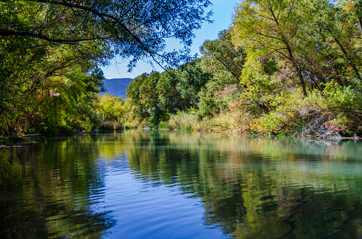 A scenic image of the Verde River as it flows through the Verde Valley and Camp Verde, Arizona.