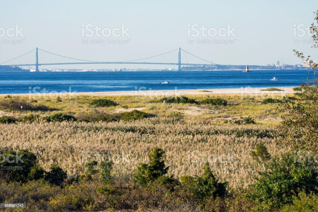 The Verrazano from Sandy Hook stock photo