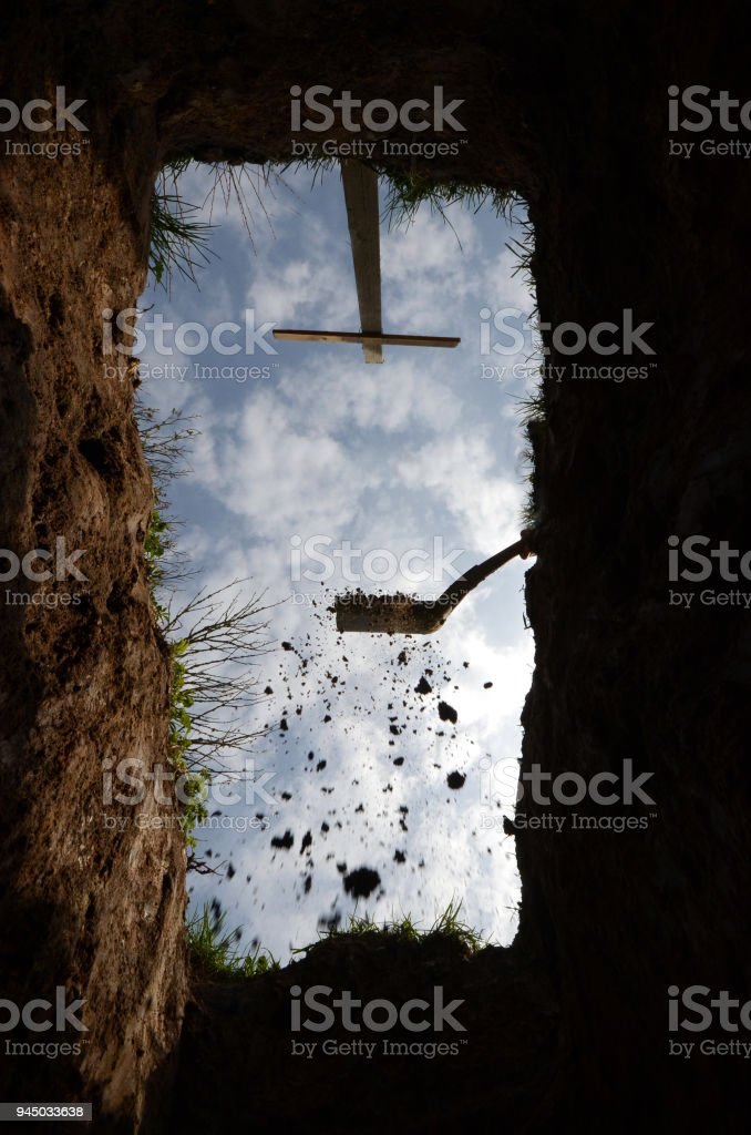 The very last view from the grave stock photo