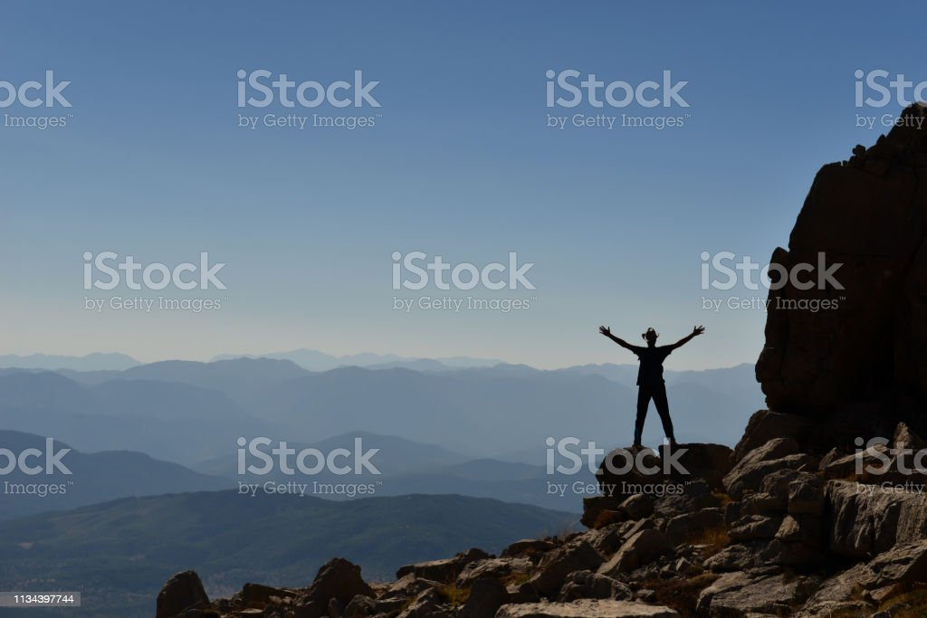 the victory of the people who have achieved the goal stock photo