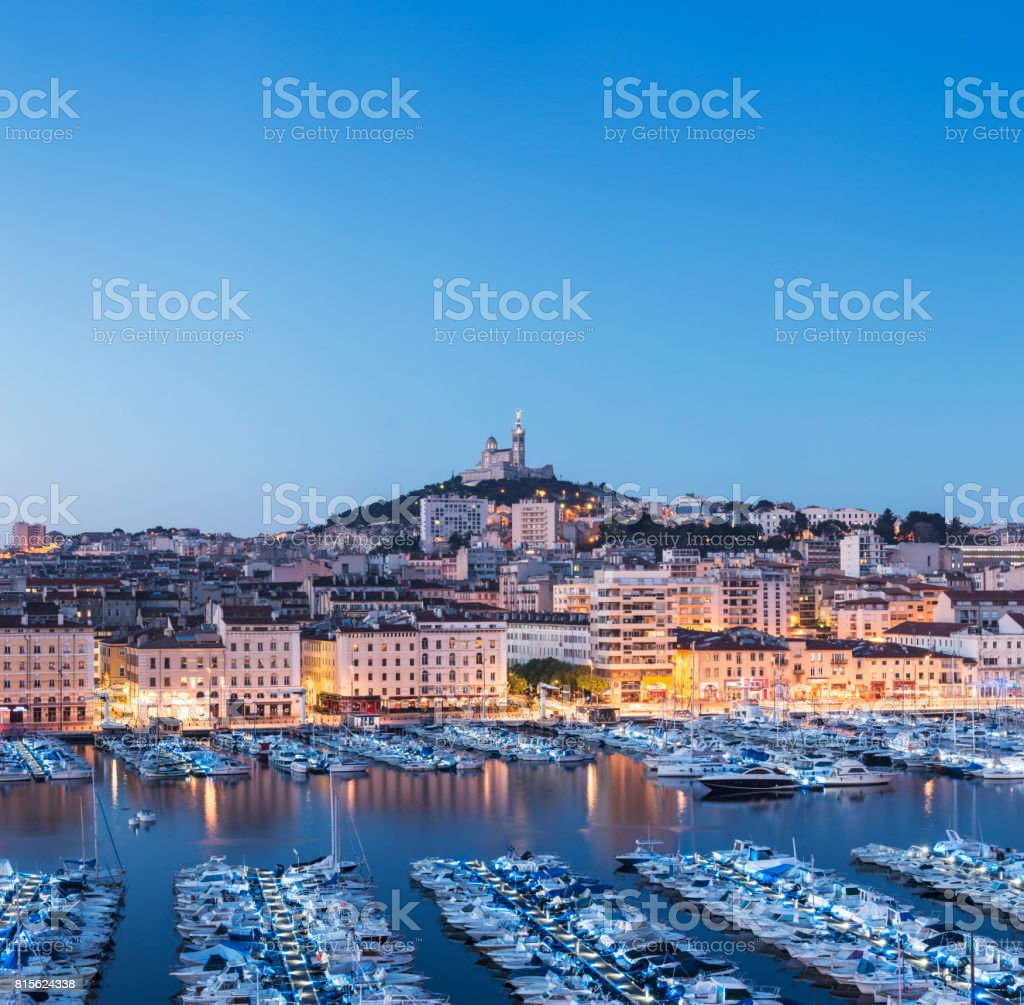 The Vieux Port (Old Port) in Marseille at Twilight, France stock photo