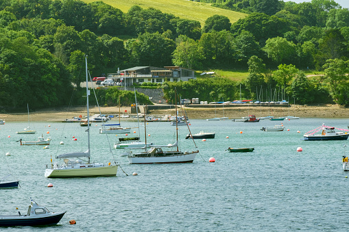 The view across the picturesque Helford River rural Helford village.