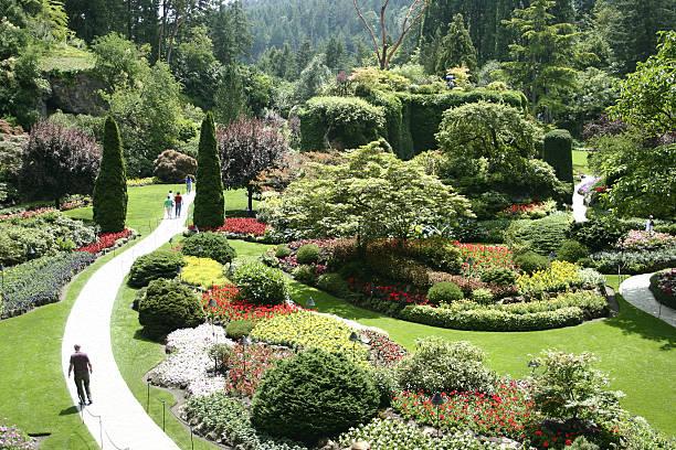 Blick nach unten in Buchart Garten, Victoria, British Columbia. – Foto