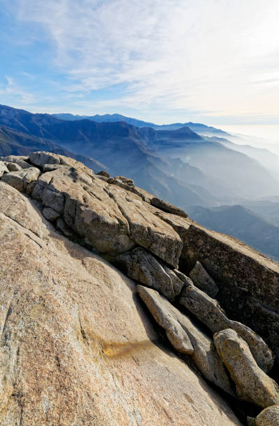 The view form Moro Rock in Sequoia National Park stock photo