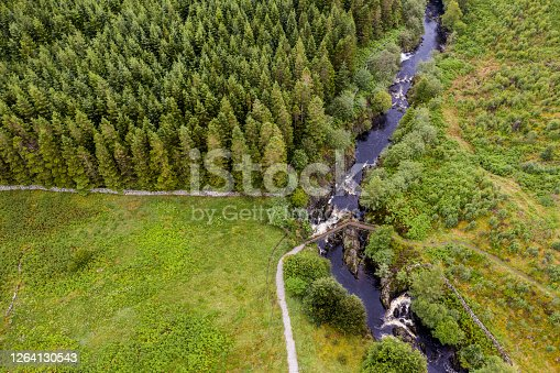 The view from a drone of a footbridge over a small Scottish river in Scotland. The river is in a remote area of Scotland.