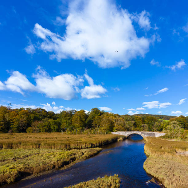 The view from a drone of an old stone bridge in Dumfries and Galloway south west Scotland The view from a drone of an old stone bridge crossing a small river that flows into an estuary in Dumfries and Galloway, south west Scotland. The Panorama was created by merging several images together. johnfscott stock pictures, royalty-free photos & images