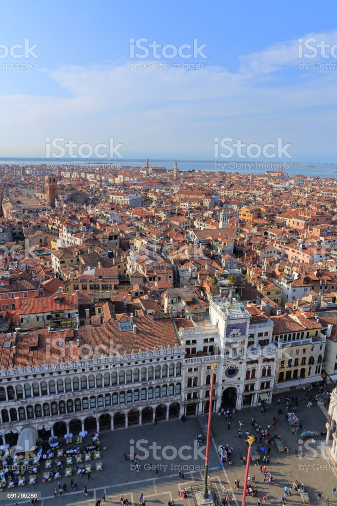 The view from above on Venice and San Marco Square near the Zodiac Clock Tower, on April 9, 2017 in Venice, Italy stock photo