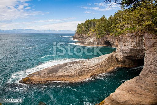 The view from Cape Flattery, the northwesternmost point of the contiguous United States, Makah Reservation, Washington state, USA