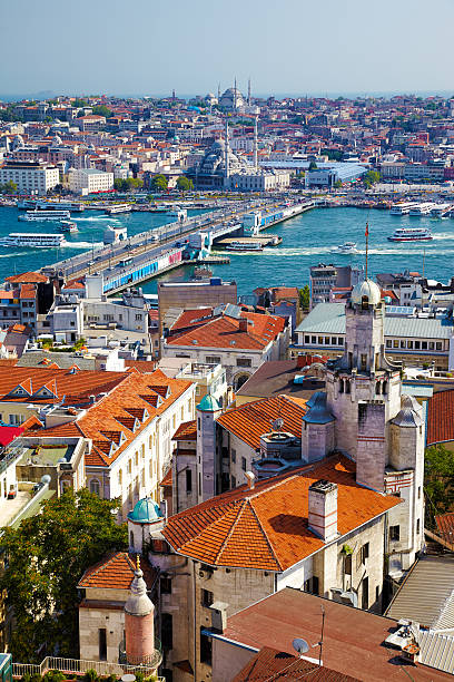 The view from Galata Tower to Galata Bridge with the – Foto