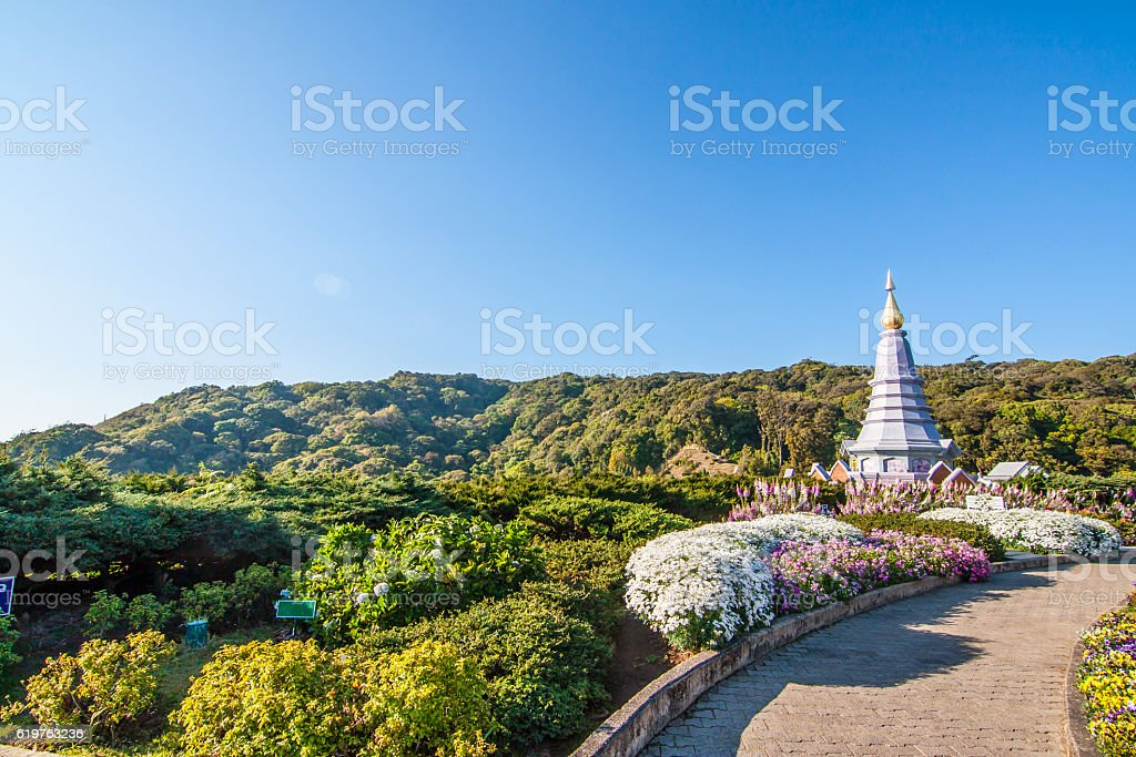 The view from Methanidonnoppha stupa in Inthanon national park stock photo