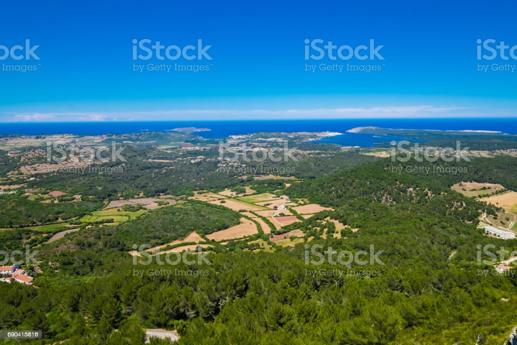 The view from Mount Toro, Menorca stock photo