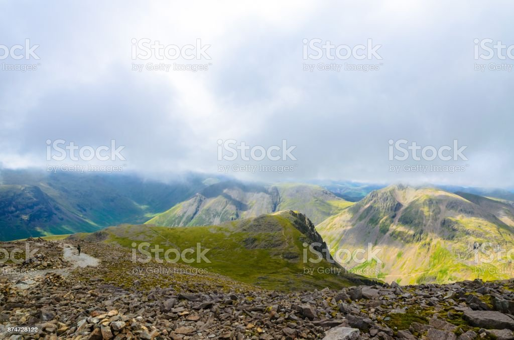 The view from Mt. Scafell Pike stock photo