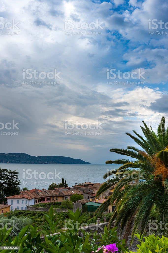 The view from the roof small old town on Lake stock photo