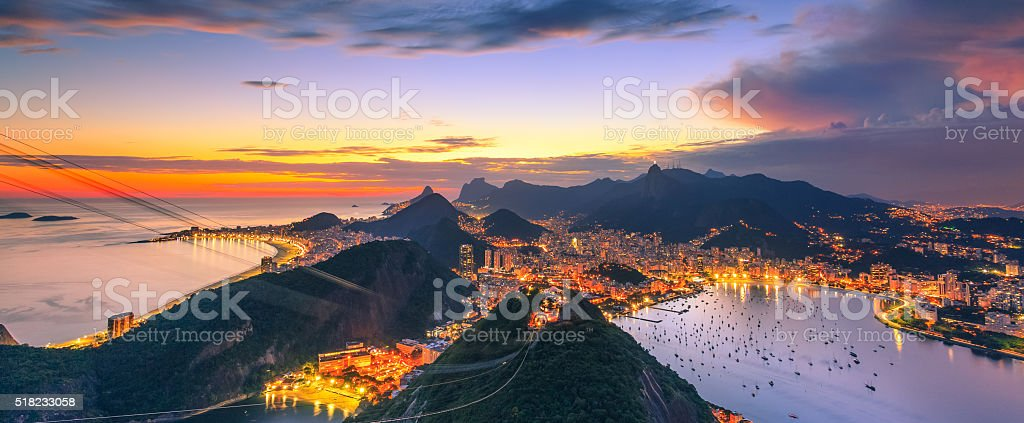 The view from the Sugarloaf Mountain stock photo